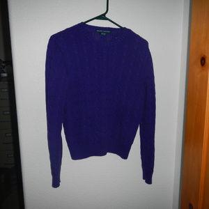 Ralph Lauren Cabel Knit Cotton Sweather Purple L